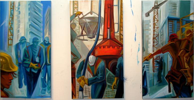 triptych, acrylic on canvas