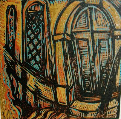 linocut, reduction print, Italy series,