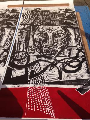steamroller printed, woodcut, Big Print Project